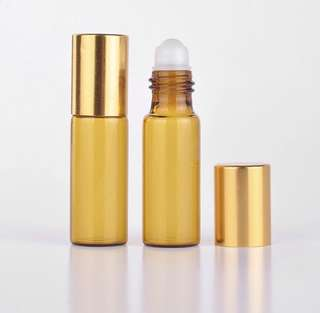 10 Pieces/Lot 5ML Portable Amber Glass Refillable Perfume With Roll On