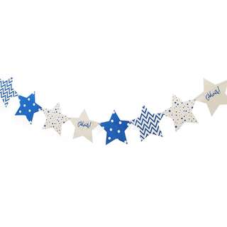 Blue Stars Polka Dots, Chevron, Celebrate Flags Banner