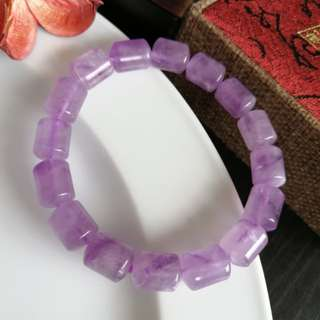 $28 Lavender Amethyst Barrel Beaded Bracelet一