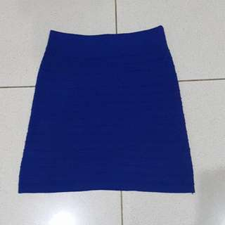 reprice PROMOD BODYCON BLUE SKIRT