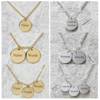 Customized Name Coin Necklaces