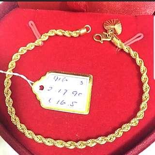 916 Gold Bracelet Rope 16.5cm