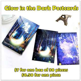GLOW IN DARK Postcards / Greeting Cards / Noctilucent Cards