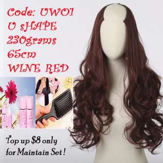 U Shape Half head Hair Extensions Long Wavy Sexy Curls Wine Red
