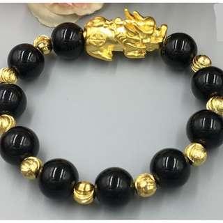 Feng Shui Gold Pixiu Bracelets Obsidian (14MM) Code 08