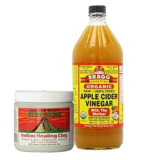 Aztec Secret Indian Healing Clay (100g) with Bragg Apple Cider Vinegar