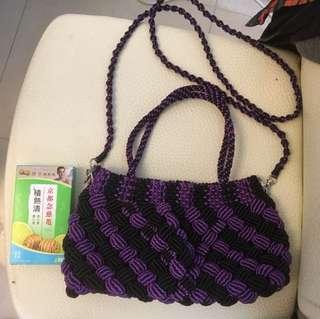 紫色手挽斜孭袋—-hand made