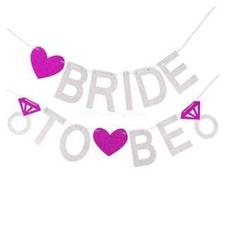 BRIDE TO BE Silver Glitters Banner with magenta hearts Set
