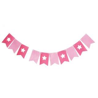 Pink Theme Star Flag Buntings