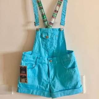 全新出清✨水藍色兩穿式吊帶褲 吊帶可拆 吊帶短褲 短褲 連身褲 女裝