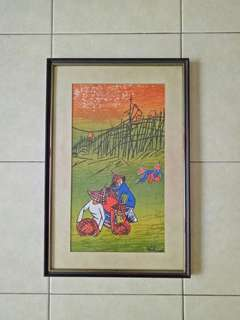 70s old painting on canvas with frame size 91x31cm perfect