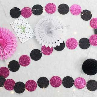 Glitter Circle Garlands (Hot Pink and Black)