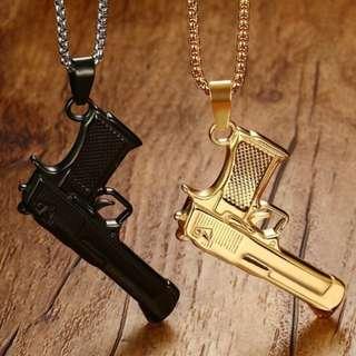 [SALES]🔲COOL GOLD|BLACK PISTOL GUN STAINLESS STEEL PENDANT MEN NECKLACE PUNK FASHION JEWELRY🔲