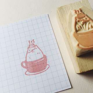 Kitty Cuppa Rubber Stamp