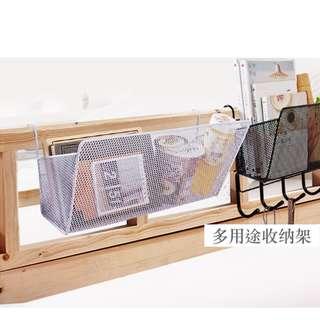 可掛式 鐵藝收納架 雜物收納籃 宿舍床邊儲物架 床頭掛籃 公司partition 置物架