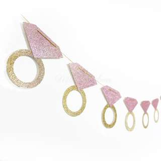 Diamond Ring Bachelorette Blush Pink Glitters Banner