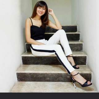 Stripe pants Bkk white celana putih list hitam