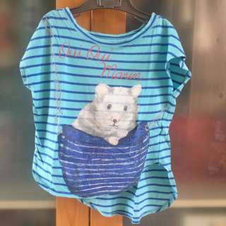 gingersnaps blue mouse stripe top
