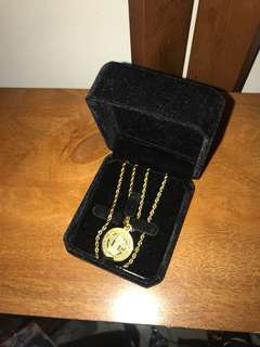 Cold Gold Rope Chain with free St. Benedict pendant