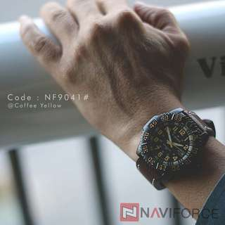 Jam NAVI FORCE 9041#p  Diameter : 4,5cm Original Men's Quartz Available 3 colours : - Black Orange - Black Red - Coffee Yellow  Band Material : Leather Feature : Date function Display : Analog Japan Movt Military Style Design Free box NAVI Warranty machi