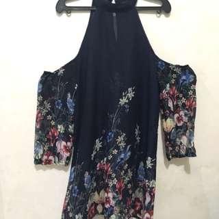 Floral off-shoulder dress (see-thru)