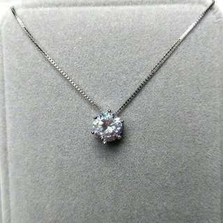 簡約經典1.3卡閃亮圓型吊墜頸鏈 Simple Classic 1.3 Carat Flashing Round Pendant Necklace