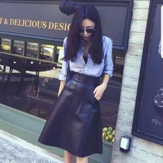 PU Leather A-line Skirt