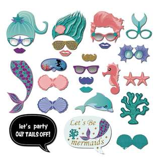 Mermaid Theme Glitter Photobooth Props Set of 26 Kit