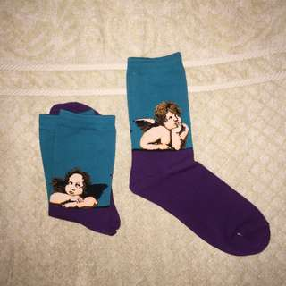 Iconic Art Socks - Cherubim from Sistine Madonna by Raphael Classical Art