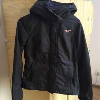 Hollister女裝黑併淡粉紅抓絨外套風衣大褸衝鋒衣HCO jacket coat A&F superdry
