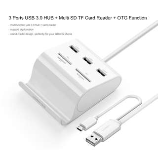 Ugreen All in 1 Card Reader with USB 3.0 HUB 3 Ports OTG Card Reader Mobile Stand