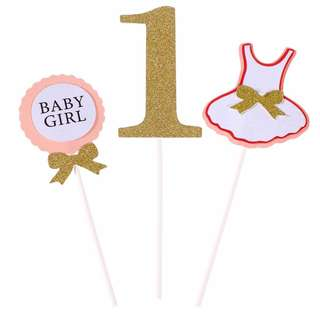 Baby Girl, Number 1, Cutout Dress Cupcake Toppers 3pcs pack
