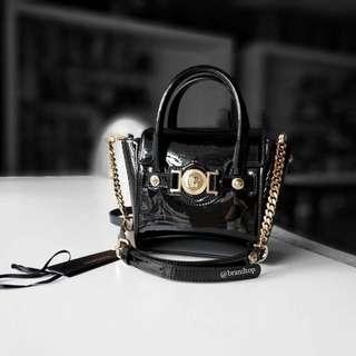 Authentic Versace Black Patent Leather Mini Signature Bag