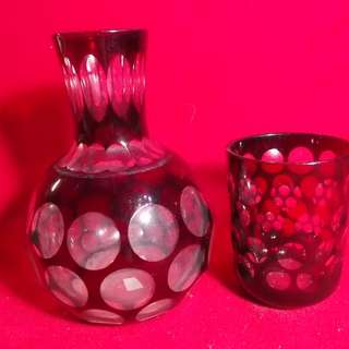 Hand Cut Kiriko Japanese Sake Jar and Glass