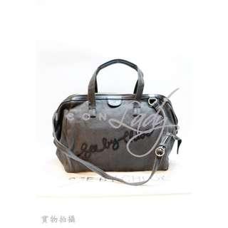 SEE BY CHLOE 灰色麻布 配黑色皮革 肩背袋 側揹袋 手挽袋 手袋