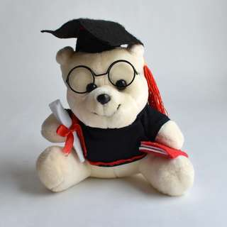 Graduation teddy bear white and with glasses