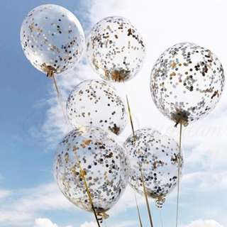 Helium Balloons - 12 Inch Confetti Black & Edgy Balloon
