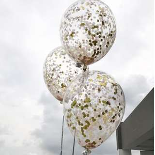 Helium Balloons - 12 Inch Confetti Rose Gold Balloon