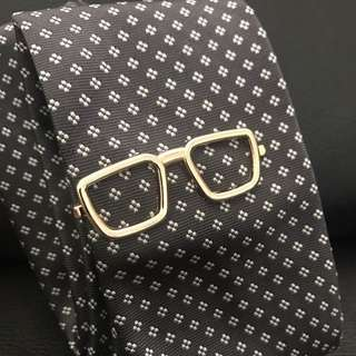 Spectacle / Glasses Tie Bar Gold Square