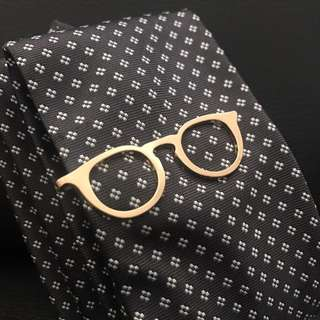 Spectacle / Glasses Tie Bar Gold Round