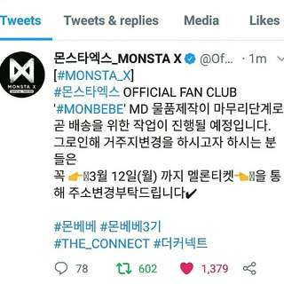GOOD NEWS MONBEBE 👏 < Monsta X 3rd Gen. Fan Club >