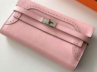Hermes Kelly Long Wallet Ghillies Swift Rose Sakura PHW
