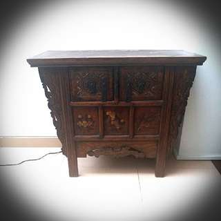 Antique wooden side table / console with drawers