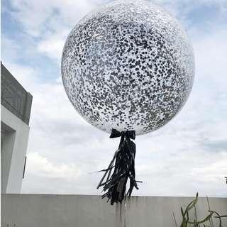 Helium Balloons - 36 Inch Confetti Metallic Silver Balloon