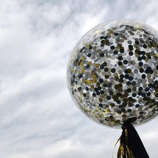 Helium Balloons - 36 Inch Confetti Black & Edgy Balloon