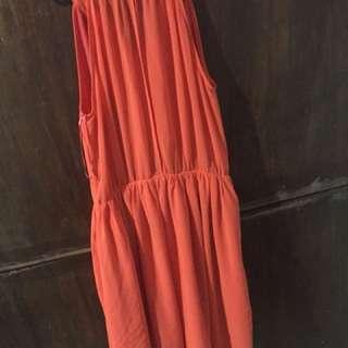Orange chiffon dress