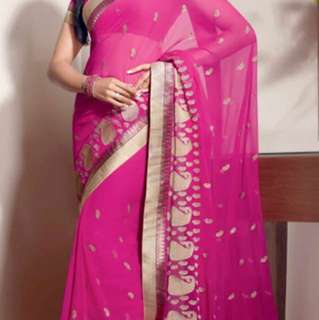 Pink beautiful Indian Saree Sari