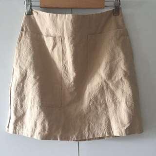 卡奇色棉麻半身裙