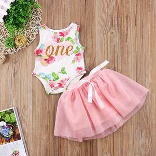 🦁Instock - 2pc 1st floral birthday set, baby infant toddler girl children glad cute 123456789 lalalala
