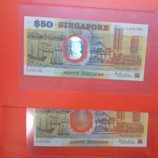 2 Singapore $50 Polymer Notes 1990 Sg25 Commemorative 25 Years 2 Running Numbers With folder